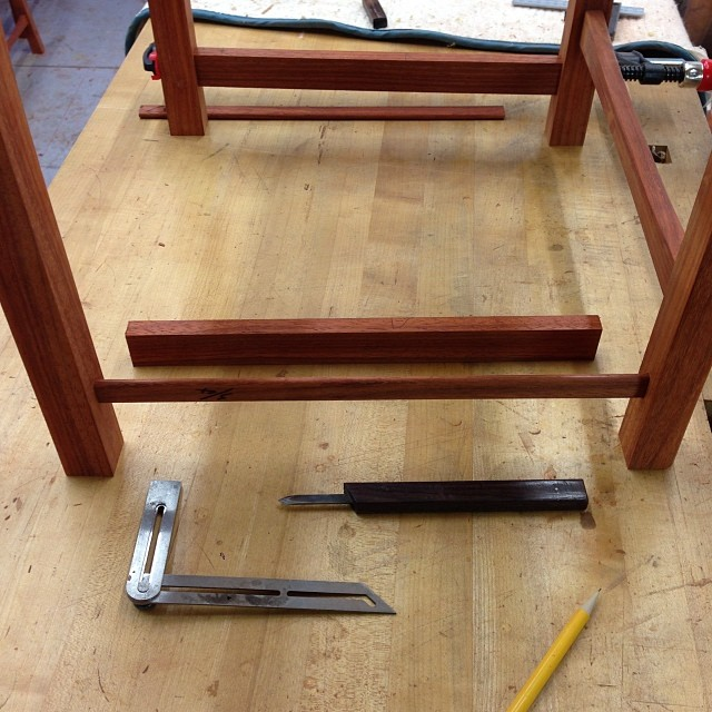 Using a dummy tenon to figure out the angles between the legs. Eventually a stretcher will end up in the tenon's place. I know this sounds extra dorky, but I am SO excited that after all this planning (and shaping), the angled mortises between the front and back legs are actually in line. #heckyeah #letsmakesomechairs