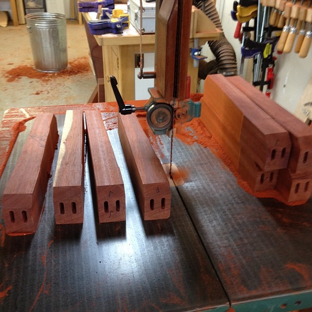 Bandsawing the side seat-rails to shape… #letsmakesomechairs