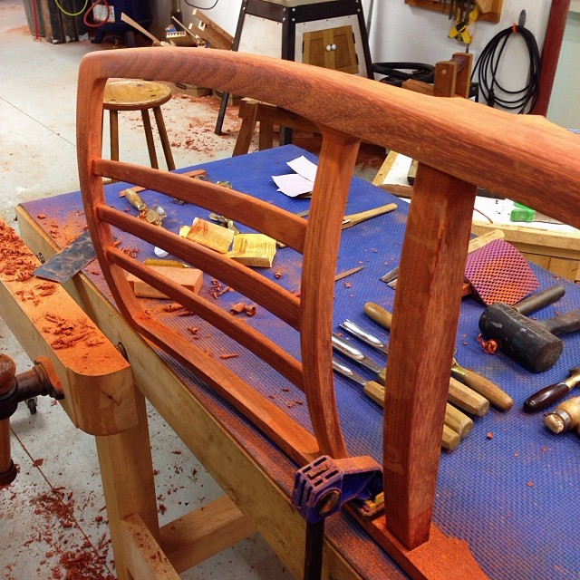 Fairing the roundovers on one of the chair backs. #letsmakesomechairs
