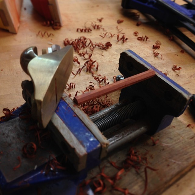 Planing down some tiny padauk dowels. #letsmakesomechairs