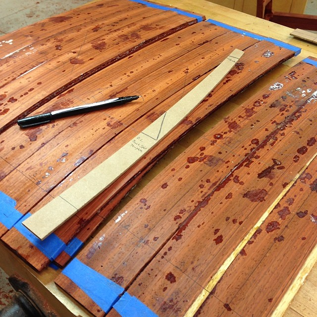 Laying out bent-laminated back splats. #letsmakesomechairs