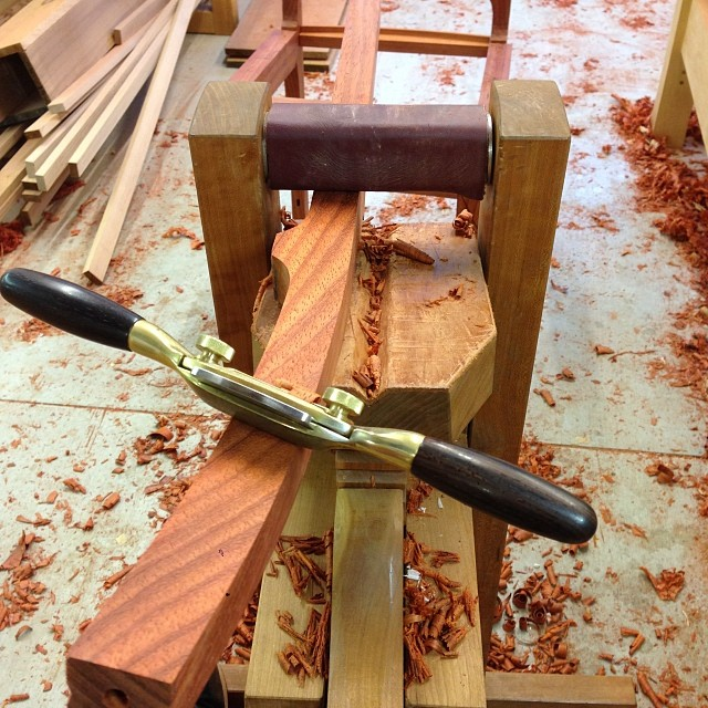 Fairing in the twist on one of the back legs (with assistance from Pokey the Shavehorse.) #clipclop #letsmakesomechairs