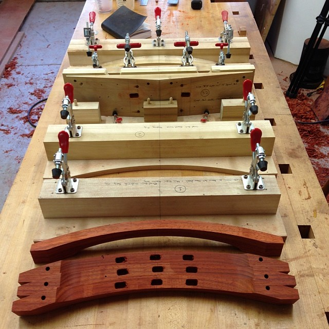 All together now- 5 (and a half) jigs to shape and mortise the crest rails. #letsmakesomechairs #robotarmy