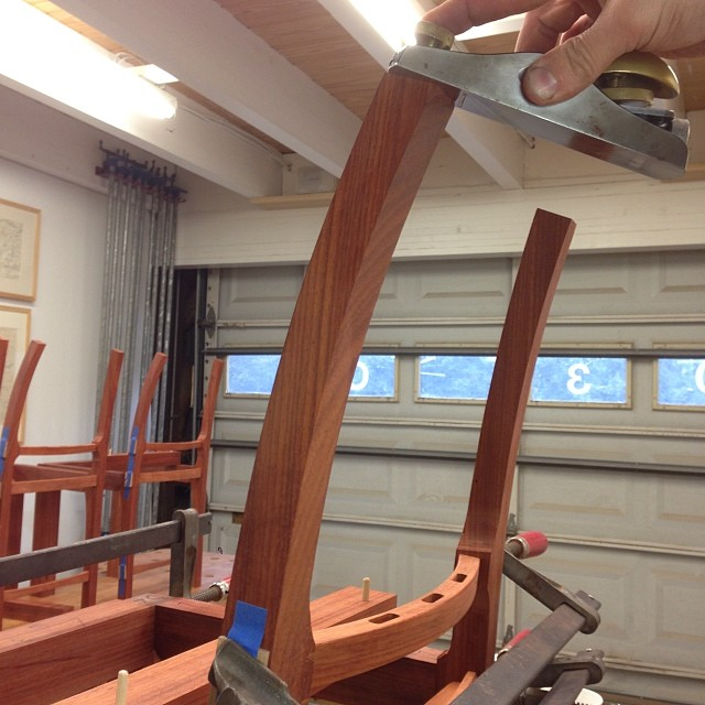 Planing the tops of the legs so the crest rail blank lands squarely on both. #letsmakesomechairs