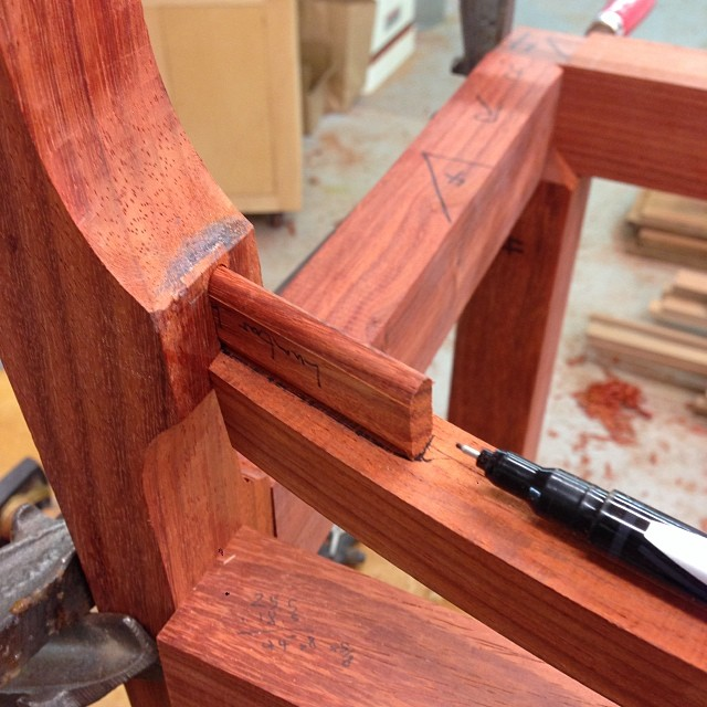 Laying out one of the angled mortises. #letsmakesomechairs