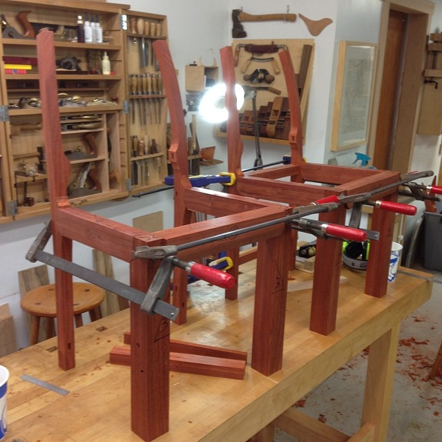 Fitting up the back rails and stretchers. #letsmakesomechairs