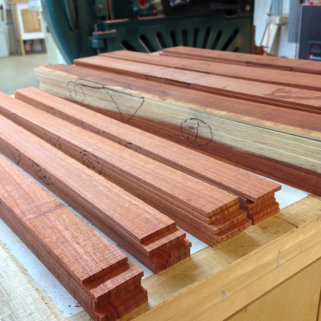 Fat stacks (of padauk laminates.) #letsmakesomechairs
