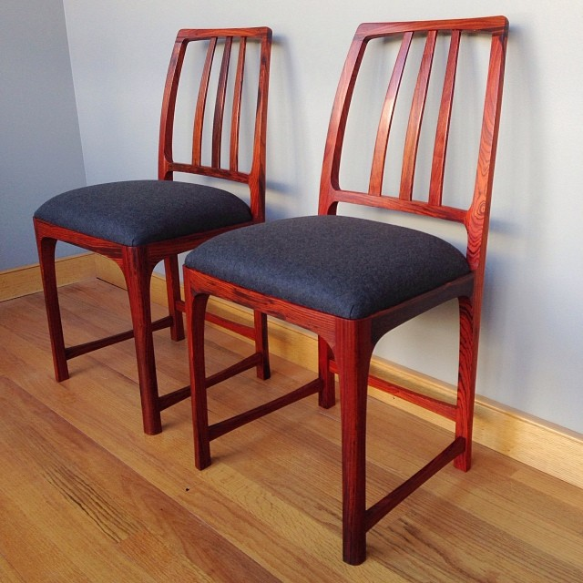 …and done. Cocobolo game chairs. Graphite twill wool seats, oil finish. Now to make four more. #madeinhouston