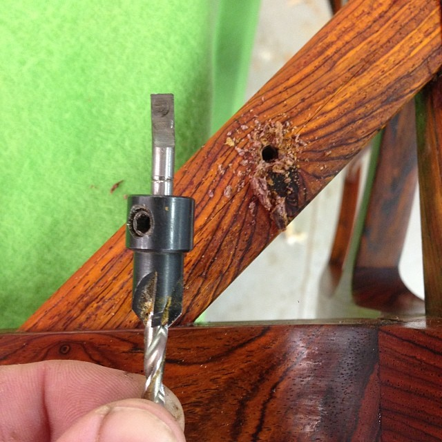 Oh-so-fancy cocobolo had one last move up it's sleeve: bending my countersink into an unusable hunk of garbage. Well played, cocobolo, but here's the thing: I STILL MADE CHAIRS OUT OF YOU.