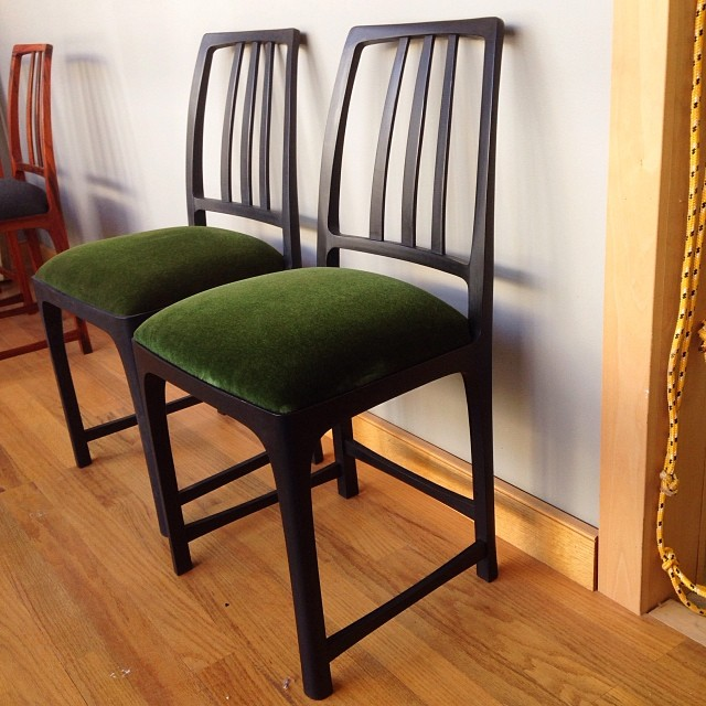 Woohoo! Chairs are back from the upholsterer. Poplar, milk paint, moss-green mohair. #MadeInHouston