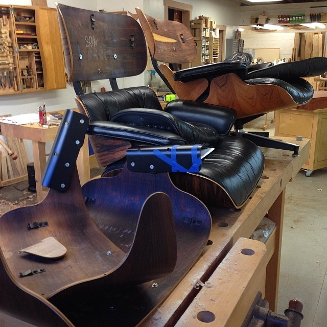 Eames chair repair day at the shop.