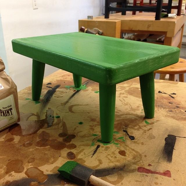 Tiny green stool! #onehourprojects