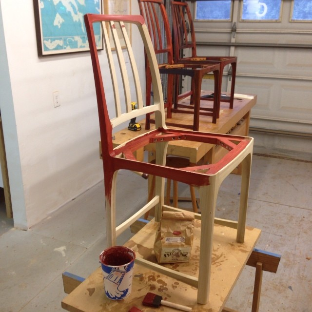Milk painting the poplar chair.
