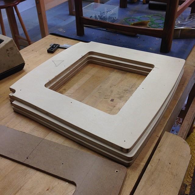 Fancy plywood seat frames.