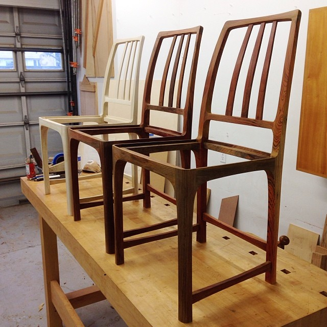 One poplar and two cocobolo chairs, ready for corner blocks, and after that, finish. I was hoping to have these wrapped up by new year's, but it wasn't in the cards. In any case I'm excited.