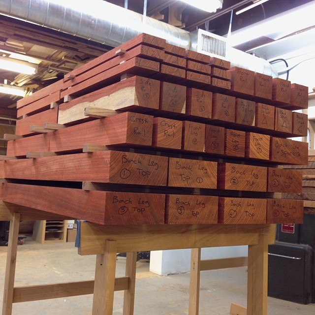 Blanks for four padauk chairs, stacked and stickered. I'm hoping to get back to these sometime in mid-January. I'm excited.