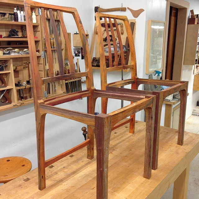 Hooray! Big day at the shop- pretty much all the shaping and machining is done on the chairs, save for the lower stretchers. I'm excited to see these things finally start to come together. Also, the million-billion shaping jigs all more or less worked, which is a bonus.