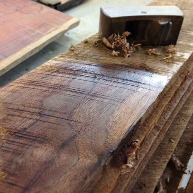Checking out the color of some rough sawn air-dried walnut for an upcoming project… #exciting