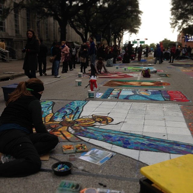 Every year over 200 artists lend their time and talent to be part of Via Colori Houston, a two-day street painting festival in support of the Houston Center for Hearing and Speech. A & I are so excited to once again be part of this year's festivities.  #viacolori  (at Houston Via Colori)