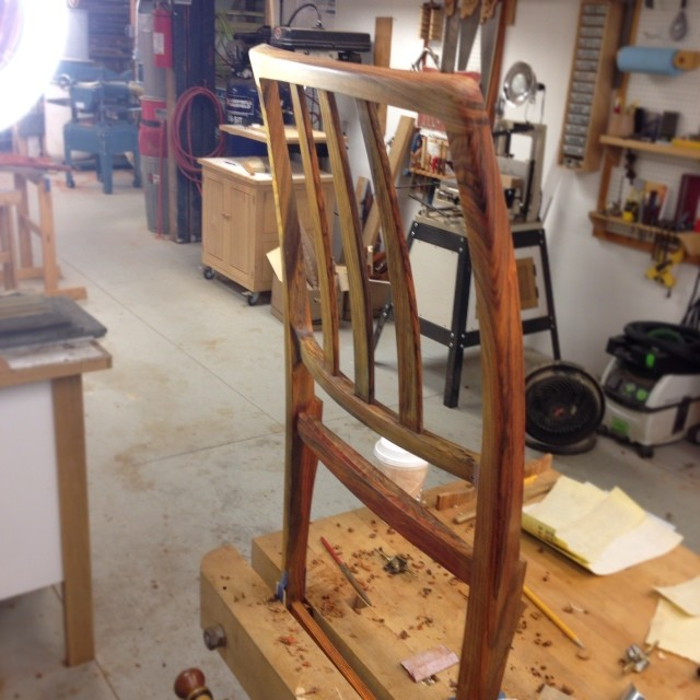 Second chair back joined/shaped/carved/scraped/filed/sanded/[insert other important-sounding activity here.] On to the fronts.