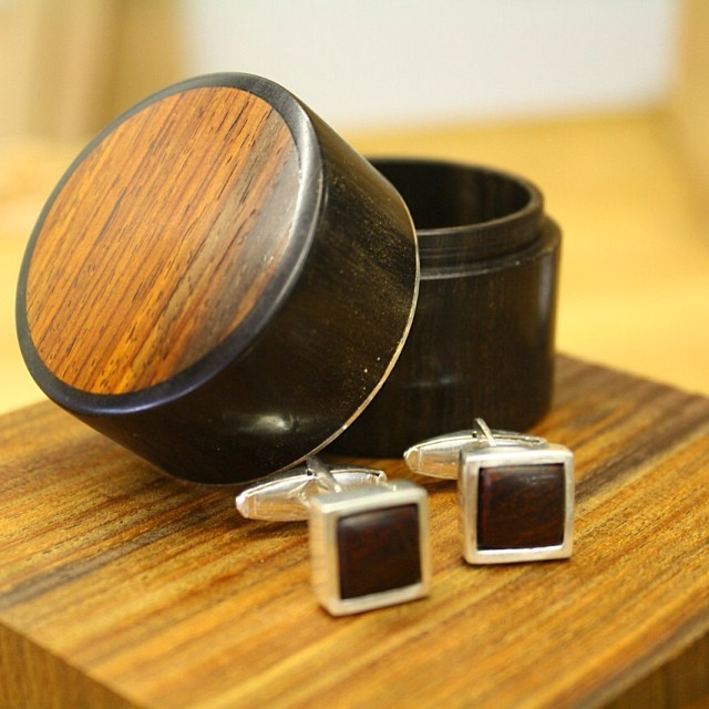 Finally posted this tiny box + cufflinks from a while back to the website. Cocobolo, ebony, sterling silver, moss-green mohair. Check it out! =>  www.kelloggfurniture.com/work