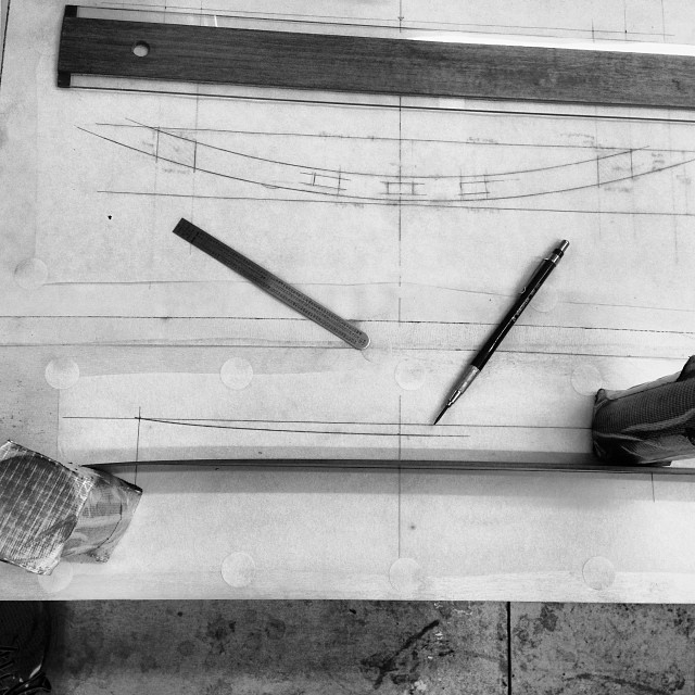 More pattern drawing. This will eventually be the lower back stretcher.