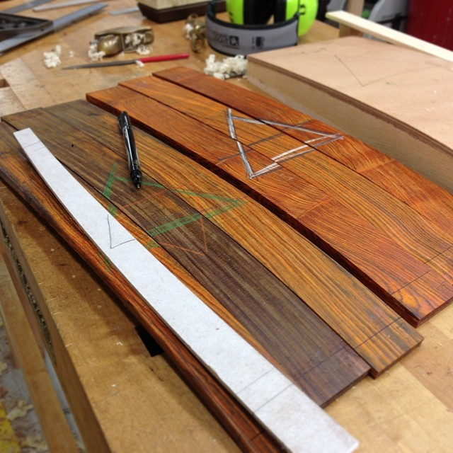 Laying out the laminated cocobolo back splats from a billion years ago.