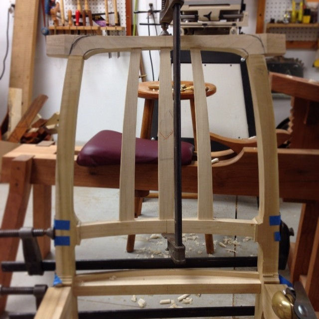 Poplar chair back is starting to come together.