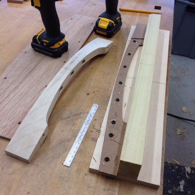 More jig-makin. The MDF pattern was taken from a full-scale drawing of the chair. This particular jig will (eventually) shape the top curve of the crest rail. (One of the poplar test- pieces is off to the left.)