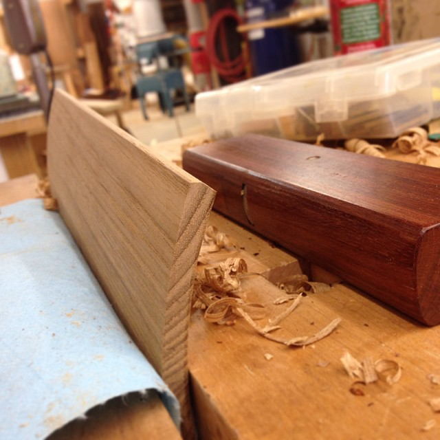 Planing a tiny finger-cove into the lip of the lid with an extra- tiny coopering plane. #letsmakeabox