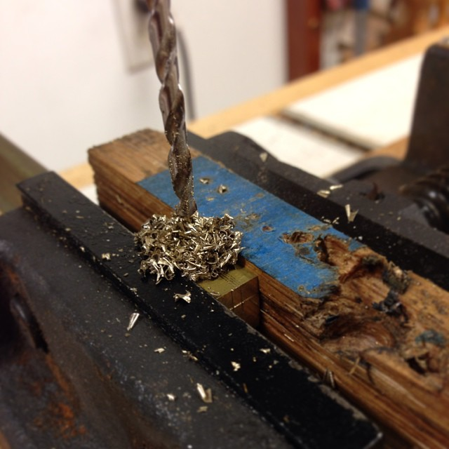 Drilling and milling what will eventually be the brass standoff for the lid-stay cord. #letsmakeabox