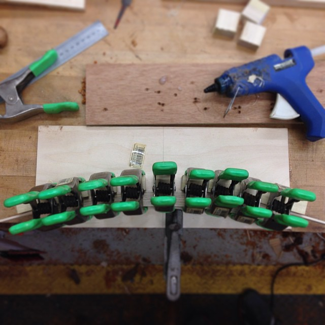 Building a clamping form to cut the back splat-mortises into the lumbar rail. #makingthethingthatmakesthething