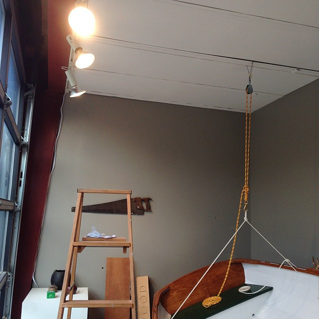 Putting up some fancy new lights in the storefront. #sofancy