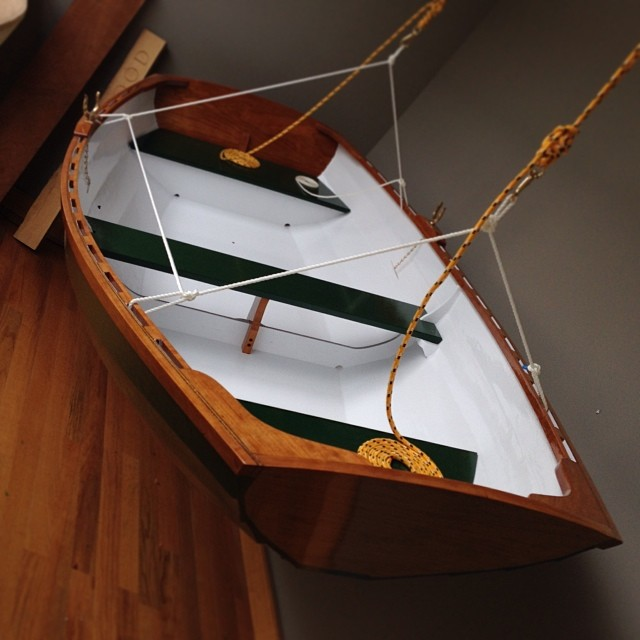 """Behold, the mighty DREADNAUGHT! 8' 8"""" pram. Air-dried cherry and marine ply, lapstrake construction. I can't take credit for its construction (that goes to my dad), but I was really happy to have been able to help. #woodenboat #Ahoy"""