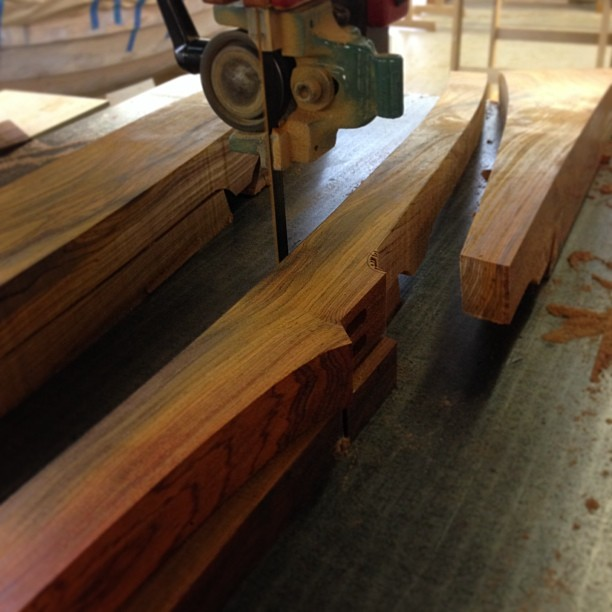 Sawing the back legs to shape.