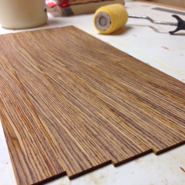 Resawn cocobolo laminate strips.