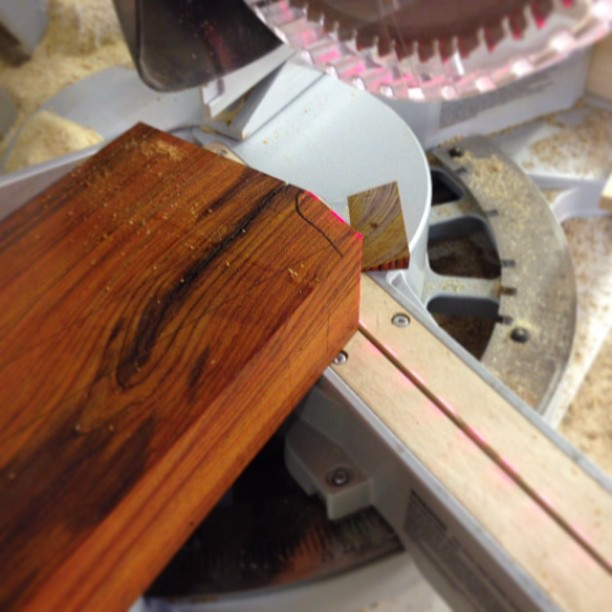 Cutting one of the angled landing pads for the crest rail.