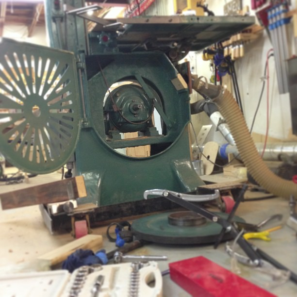 """Sometimes when you wake up in the morning the very first thing you think is """"Man O man, I can't wait to get those wheels on the bandsaw- I'll be back to sawing wood before lunch!"""" Then the Universe just laughs and laughs, because it has other plans for you, jerk."""