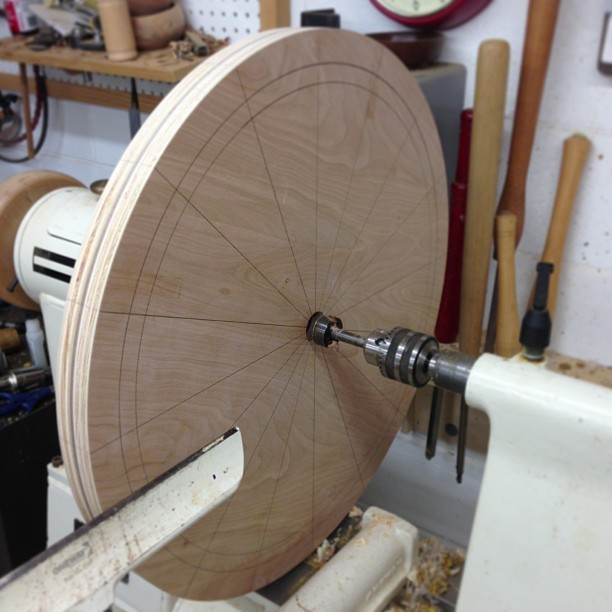 Turning a gigantic bandsaw tire-stretching jig out of plywood. I kind of wish this was made out of pizza.