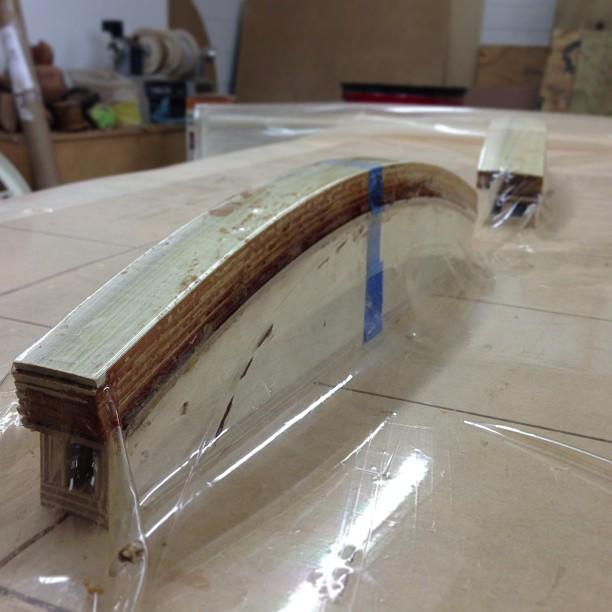 Lumbar and crest-rail prototypes in the vacuum bag.
