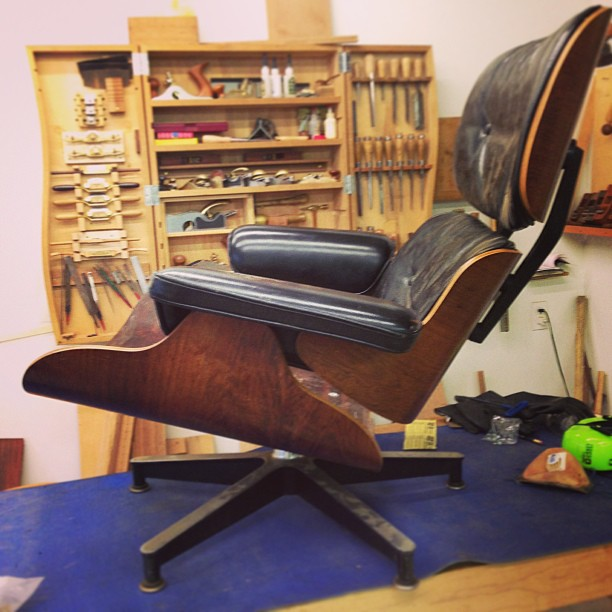 Getting an old Eames chair back together.