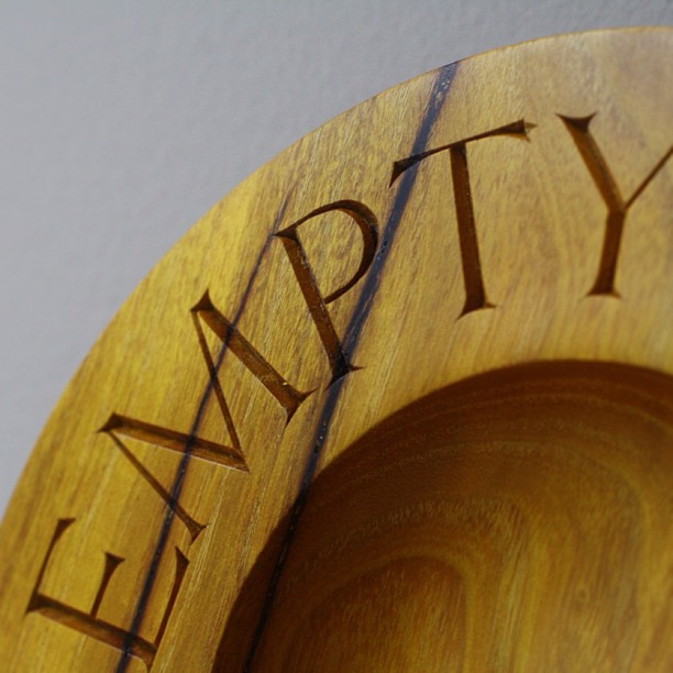 """Just posted some pics of the Osage Orange """"Sponsor Bowls"""" I made for Empty Bowls Houston earlier this year. Check them out! => kelloggfurniture.com/work #lettercarving #latergram"""