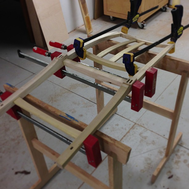 Chair mockup back clamped and glued.