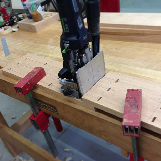 Domino-ing up some cherry cabinet sides.
