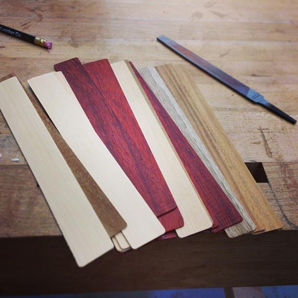 Veneer-scrap bookmarks!