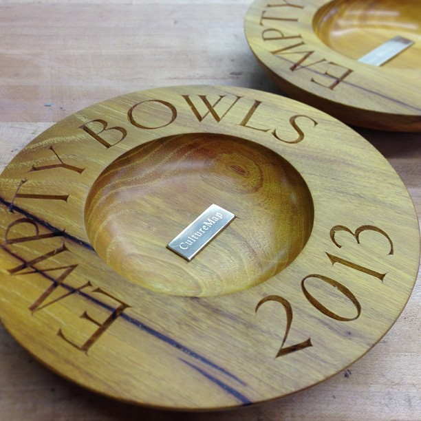 """Sponsors bowls, done and done: Osage orange with engraved brass, 8"""" Dia, Goldenbook type. Hope too see everyone out at Empty Bowls Houston this Saturday! #emptybowlshou"""