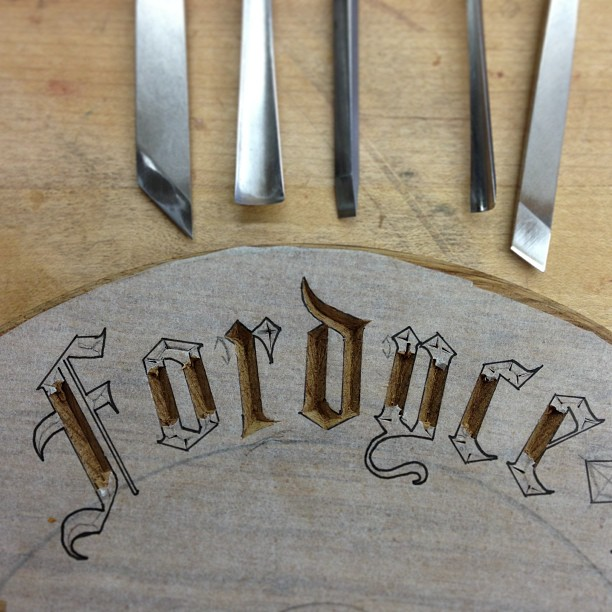 Chopping uprights. #lettercarving