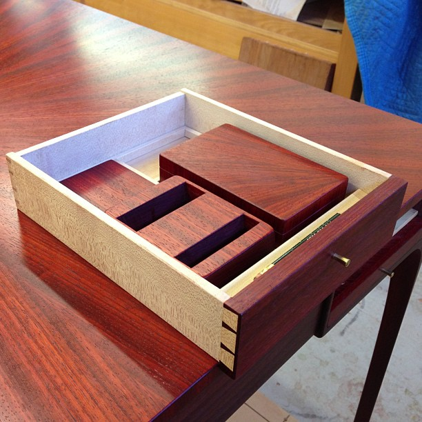 Bridge table drawer with pencil tray, bidding card box, bidding block, and coaster. Sweet Lion of Zion, 1,250 hours later this table is finished.