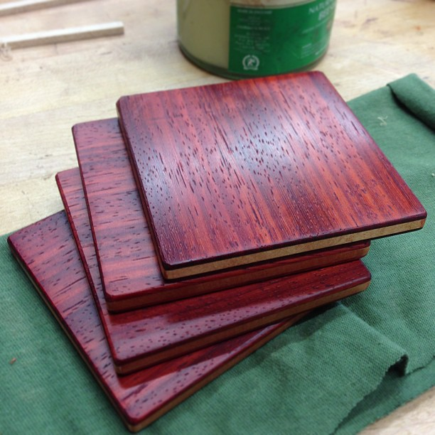 Padauk coasters, oiled, waxed, and ready for cocktails.