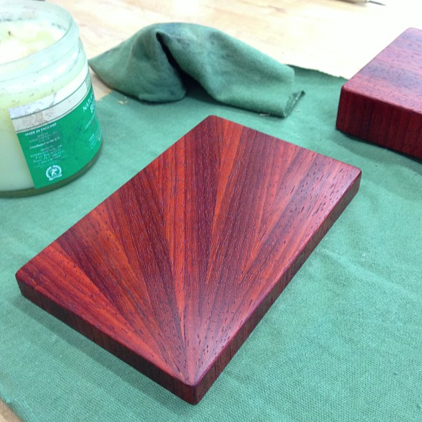 Last coat of wax on the bidding card boxes before declaring them doneski.